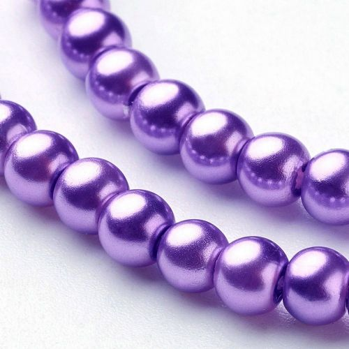 Glass Pearl Beads Dark Orchid 4mm
